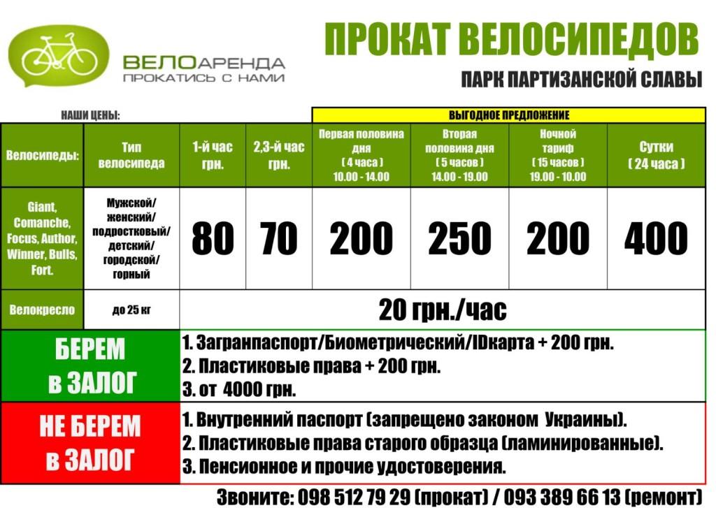 Цены на прокат велосипедов в Парке партизанской славы в сезоне 2020г.