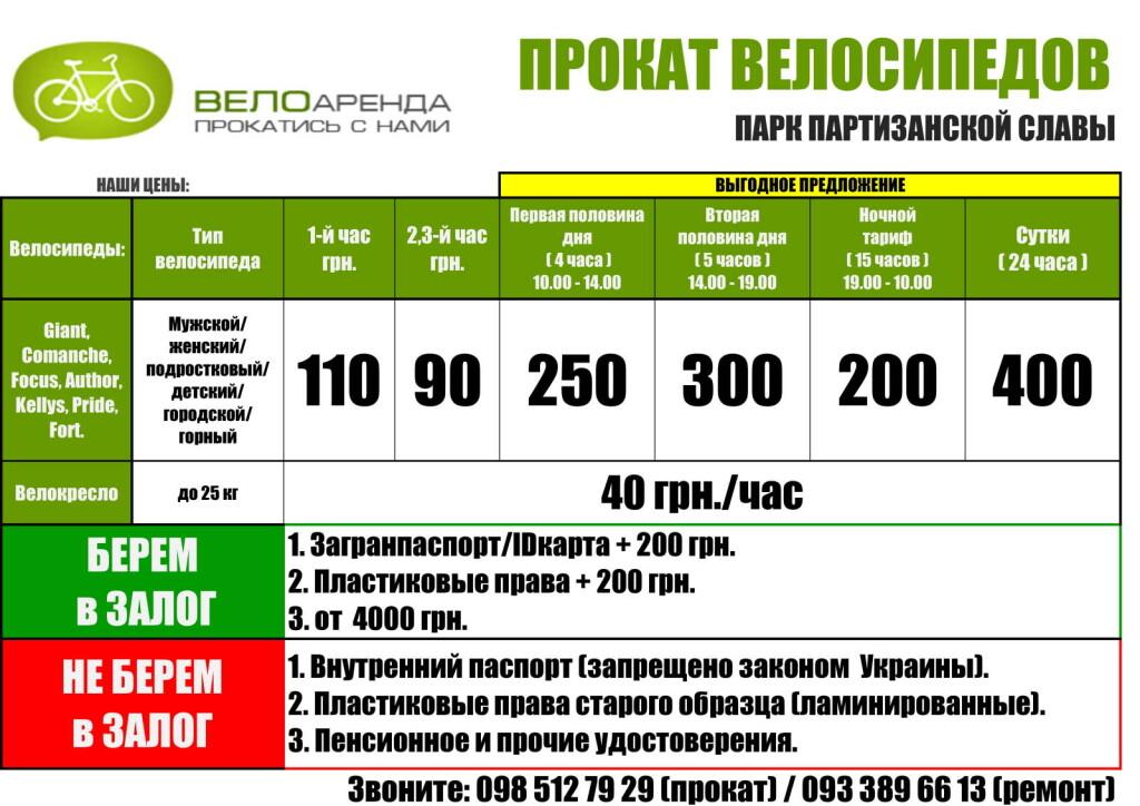 Цены на прокат велосипедов в Парке партизанской славы в сезоне 2021г