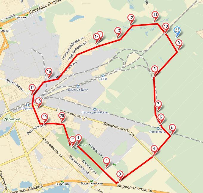 Карта веломаршрута Парк партизанской - славы - Дарницкий лес -ДВРЗ